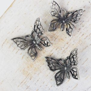 Patina silver filigree tiny butterfly 12x11 mm x 1 pc