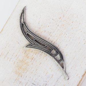 Patina silver filigree wave 44x17 mm x 1 pc