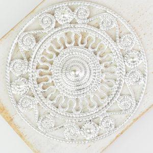 Silver filigree Aztec 46x46 mm x 1 pc