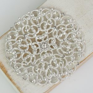 Silver filigree arabesque 55x55 mm x 1 pc