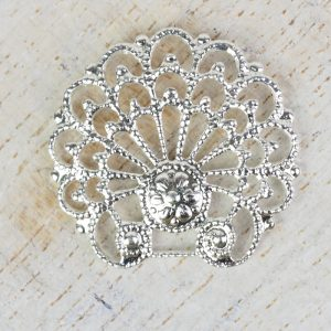 Silver filigree baroque shell 24x23 mm x 1 pc