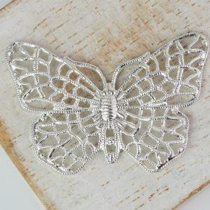 Silver filigree butterfly 38x25 mm x 1 pc