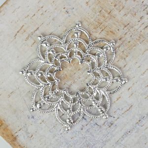 Silver filigree firework 23x23 mm x 1 pc