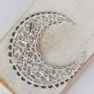 Silver filigree medium crescent 44x48 mm x 1 pc