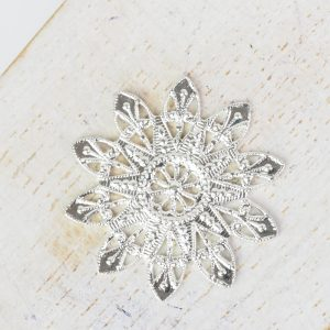 Silver filigree snowflake 27x27 mm x 1 pc