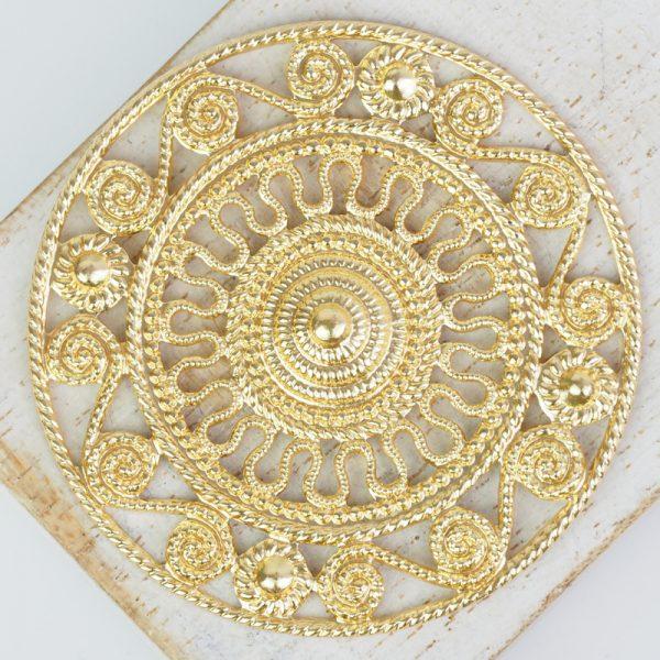 Yellow gold filigree Aztec 46x46 mm x 1 pc