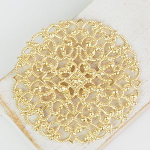 Yellow gold filigree arabesque 55x55 mm x 1 pc