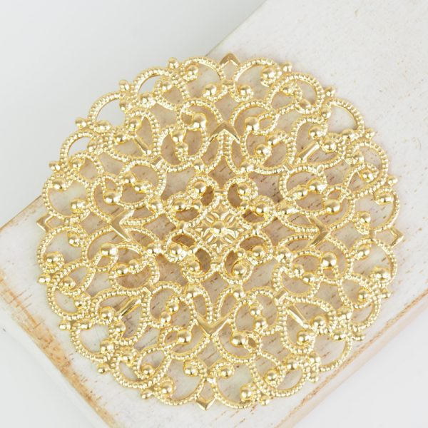 Yellow gold filigree arabesque 55x55 mm x 1 pc