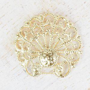 Yellow gold filigree baroque shell 24x23 mm x 1 pc