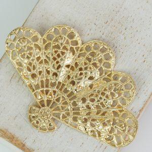 Yellow gold filigree big fan 54x36 mm x 1 pc