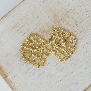 Yellow gold filigree bowtie 26x15 mm x 1 pc