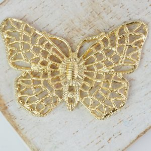 Yellow gold filigree butterfly 38x25 mm x 1 pc