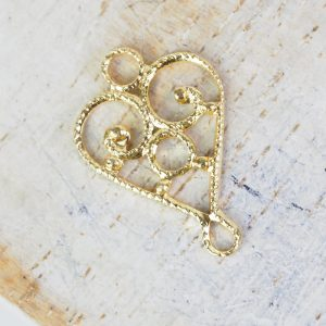 Yellow gold filigree heart connector 10x15 mm x 1 pc