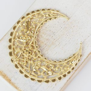 Yellow gold filigree medium crescent 44x48 mm x 1 pc