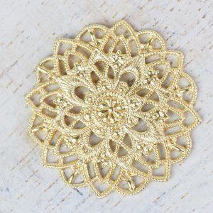 Yellow gold filigree star flower 27x27 mm x 1 pc