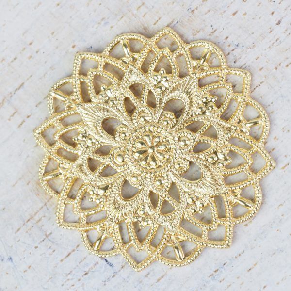 Yellow gold filigree star flower 27x27 mm x 1 pc