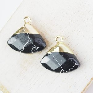 Gemstone drop in metal setting 18 x 19 mm Black x 1 pc