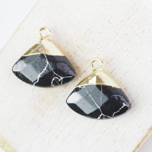 Gemstone drop in metal setting 18 x 19 mm Black x 1 pc