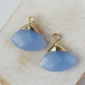 Gemstone drop in metal setting 18 x 19 mm Blue Opal x 1 pc
