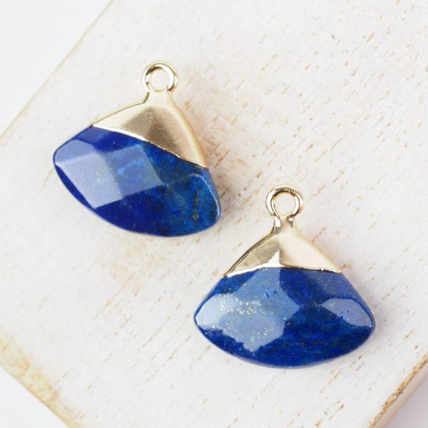 Gemstone drop in metal setting 18 x 19 mm Lapis Blue x 1 pc