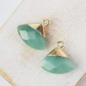 Gemstone drop in metal setting 18 x 19 mm Moss Green x 1 pc