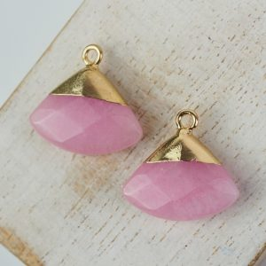Gemstone drop in metal setting 18 x 19 mm Pink x 1 pc