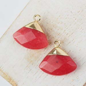 Gemstone drop in metal setting 18 x 19 mm Red x 1 pc