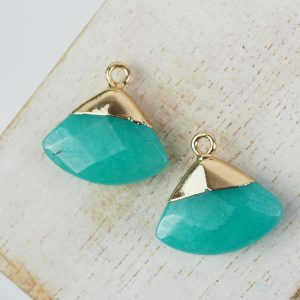 Gemstone drop in metal setting 18 x 19 mm Sea Green x 1 pc