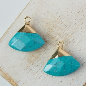 Gemstone drop in metal setting 18 x 19 mm Turquoise x 1 pc