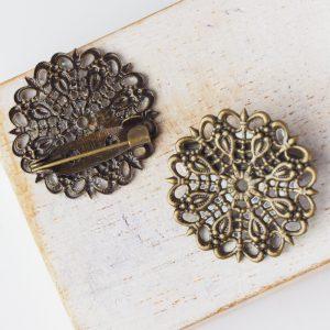 25x25 mm brooch antique bronze x 1 pc(s)