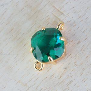 17x11 mm cushion cut crystal connector Emerald Green x 1 pc(s)