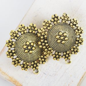 30×27 mm earstud Rajasthan Patina Gold x 2 pc(s)