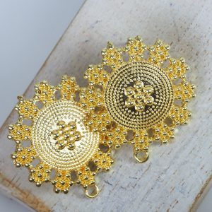 30×27 mm earstud Rajasthan Yellow Gold x 2 pc(s)