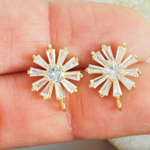 12×15 mm earstud with rhinestones Sunburst Yellow Gold x 2 pc(s)