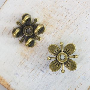 13x13 mm metal connector flower Antique Bronze x 2 pc(s)