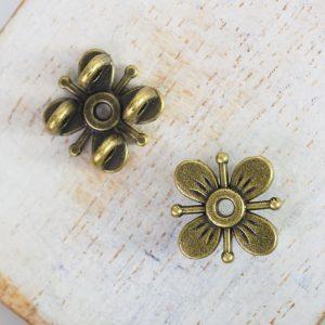 13x13 mm metal connector flower Antique Bronze x 2 pc(s)