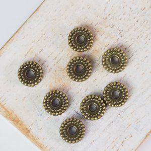 7x7 mm metal bead bronze x 10 pc(s)