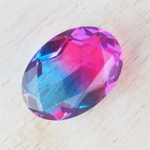13x18 mm oval glass cabochon Dark Pink-Aquamarine Rainbow x 1 pc(s)