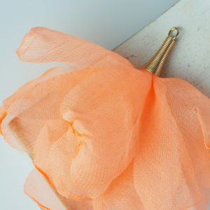6-7 cm Poppy Flower from fabric and metal Apricot x 1 pc