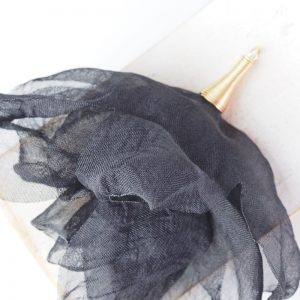 6-7 cm Poppy Flower from fabric and metal Black x 1 pc