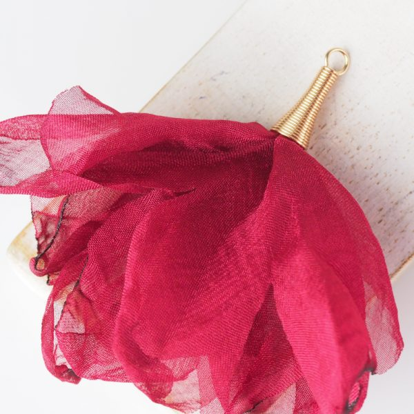 6-7 cm Poppy Flower from fabric and metal Bordeaux x 1 pc
