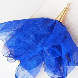 6-7 cm Poppy Flower from fabric and metal Dark Blue x 1 pc