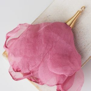 6-7 cm Poppy Flower from fabric and metal French Rose x 1 pc