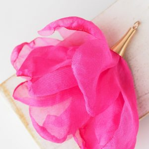 6-7 cm Poppy Flower from fabric and metal Pink x 1 pc