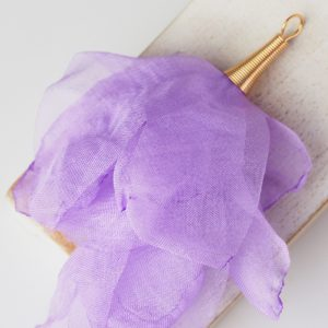 6-7 cm Poppy Flower from fabric and metal Purple x 1 pc