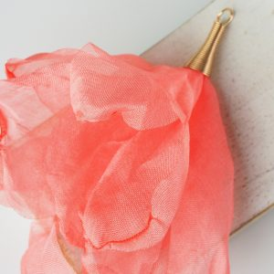 6-7 cm Poppy Flower from fabric and metal Salmon x 1 pc
