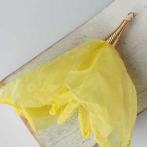6-7 cm Poppy Flower from fabric and metal Yellow x 1 pc