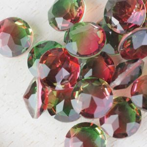 8x8 mm round glass cabochon Firefly Rainbow x 1 pc(s)