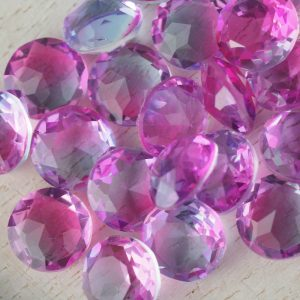 8x8 mm round glass cabochon Pink-Aquamarine Rainbow x 1 pc(s)