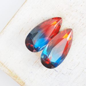 10x20 mm teardrop glass cabochon Red-Blue Rainbow x 1 pc(s)